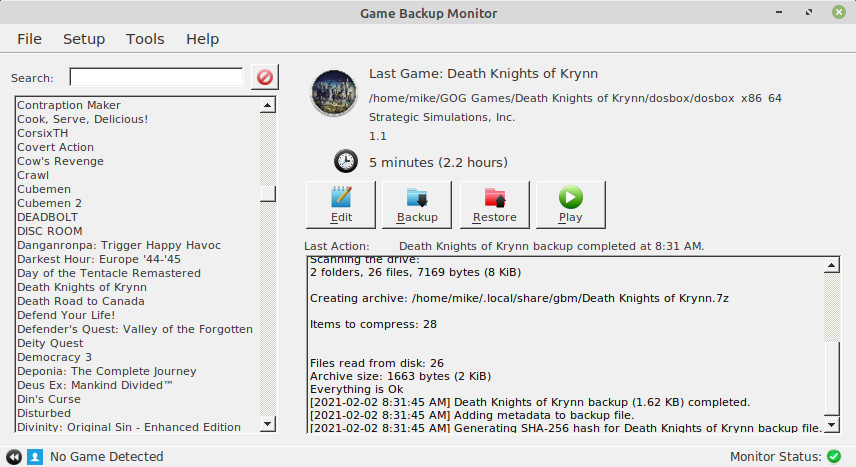 Game Backup Monitor [Linux]
